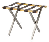 Combination Luggage Rack- Brushed Steel, Natural Wood- 4 pack- Wholesale Hotel Products