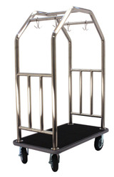 Grand Lux Bellman's Cart- Brushed Stainless Steel Finish