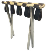 Combination Luggage Rack- Brushed Steel, Wood- 4 pack