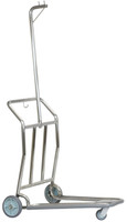 Nestable 3-Wheeled Personal Carrier Cart- Brushed Stainless Steel Finish- Wholesale Hotel Products