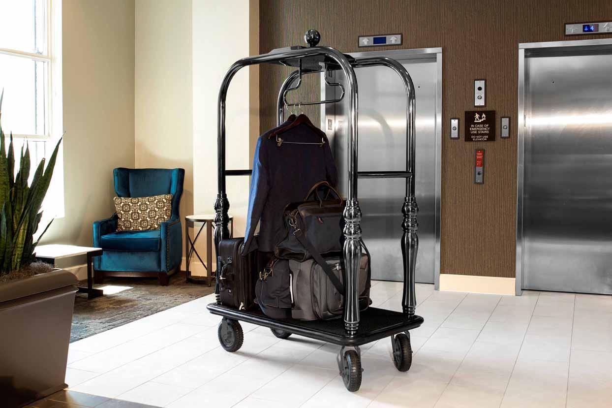 Hotel luggage cart in lobby