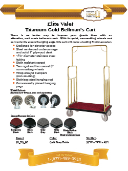 Elite Valet Bellman's Cart- Titanium Gold Finish Literature Sheet