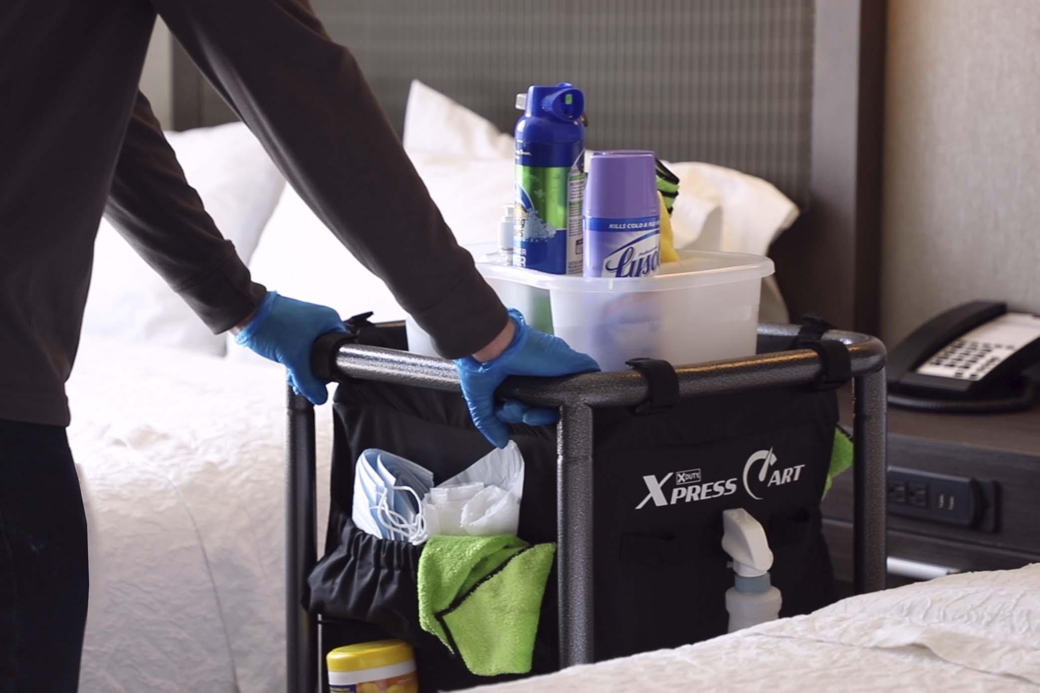 Housekeeping cart in guest room