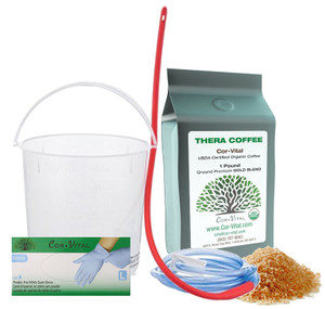 Qty 150 Nitrile Powder & Latex Free Gloves/1lb Gold Enema Coffee/Enema Bucket w/tubes. AMAZING VALUE - Over 25% OFF MSRP.