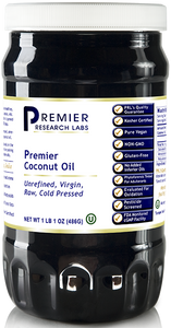 Coconut Oil, Premier Virgin, unprocessed raw coconut oil - healthy blood lipids, skin support
