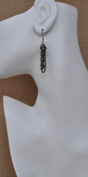 Antique Copper Box Chop Drop Earrings, by Infinitus Designs
