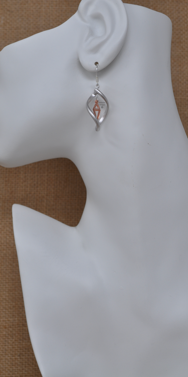 Silver with Rose Gold Infinity Twist Earrings, by Infinitus Designs
