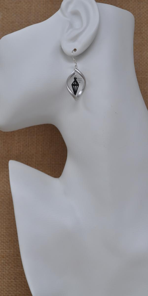 Silver with Black Infinity Twist Earrings, by Infinitus Designs