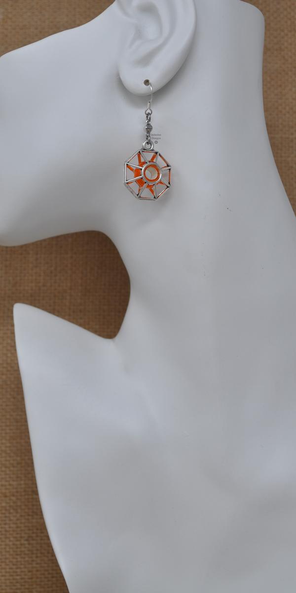 Orange Starburst Earrings, by Infinitus Designs