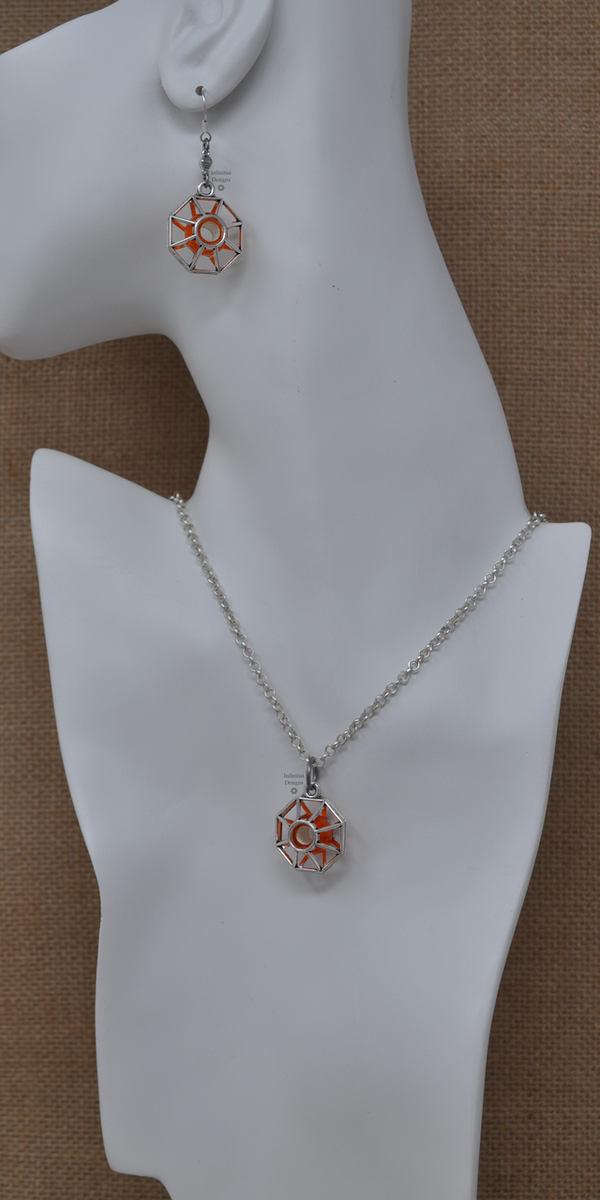 Orange Starburst Necklace and Earrings, by Infinitus Designs