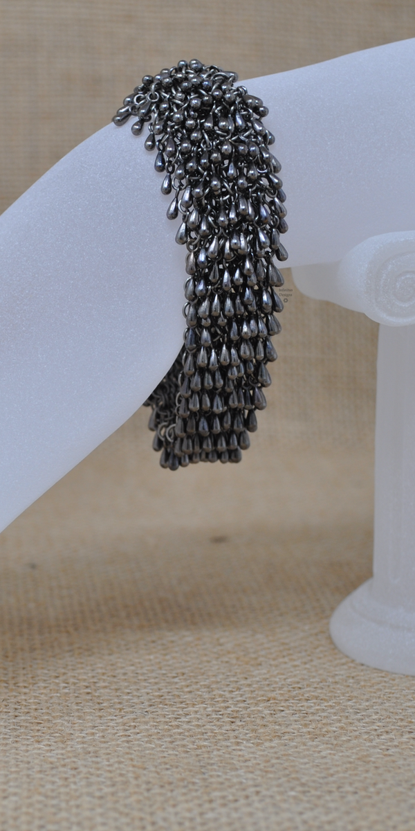 Gunmetal Rain Drop bracelet with 3-loop clasp, by Infinitus Designs