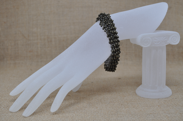 Antique Brass Rain Drop bracelet with 2-loop clasp, by Infinitus Designs