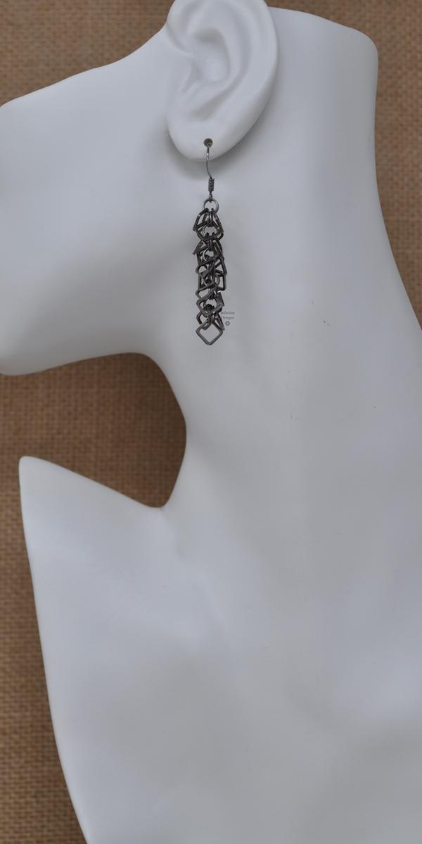 Black Ice Box Chop Drop Earrings, by Infinitus Designs