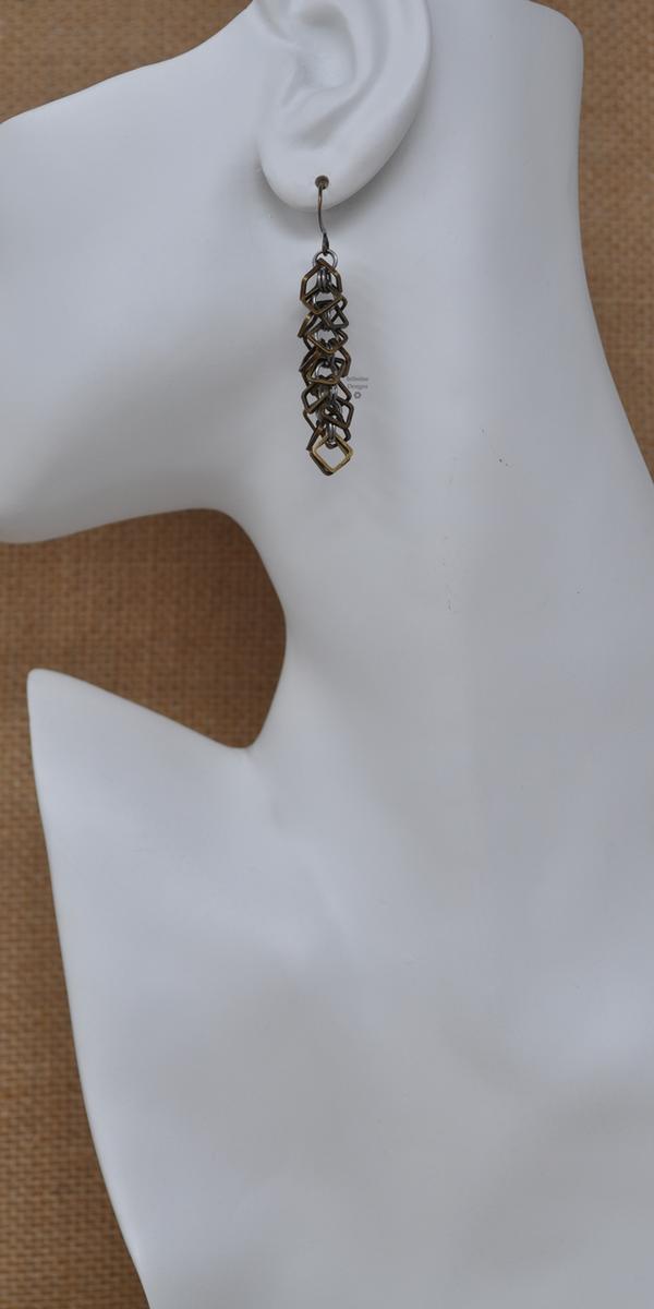 Bronze Box Chop Drop Earrings, by Infinitus Designs