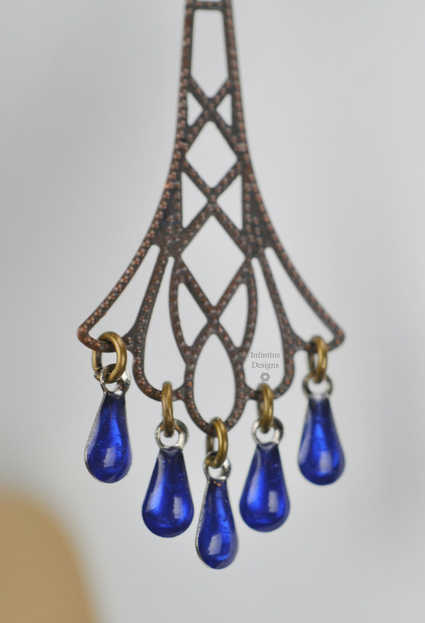 Blue Flapper Earrings, by Infinitus Designs