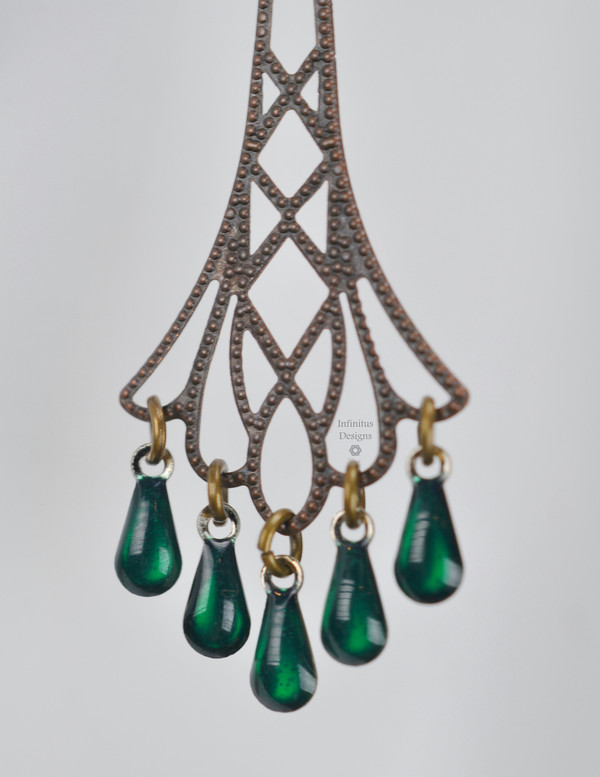 Green Flapper Earrings, by Infinitus Designs