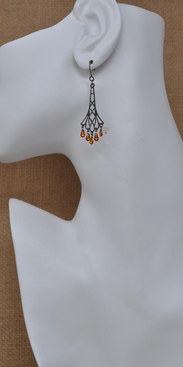 Yellow Flapper Earrings, by Infinitus Designs
