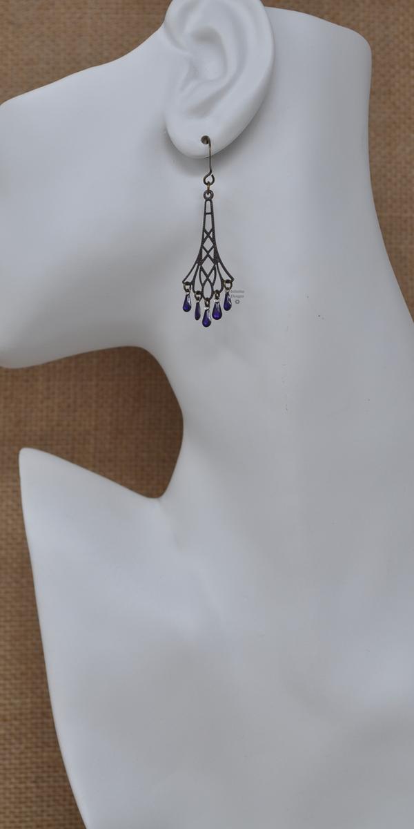 Purple Flapper Earrings, by Infinitus Designs