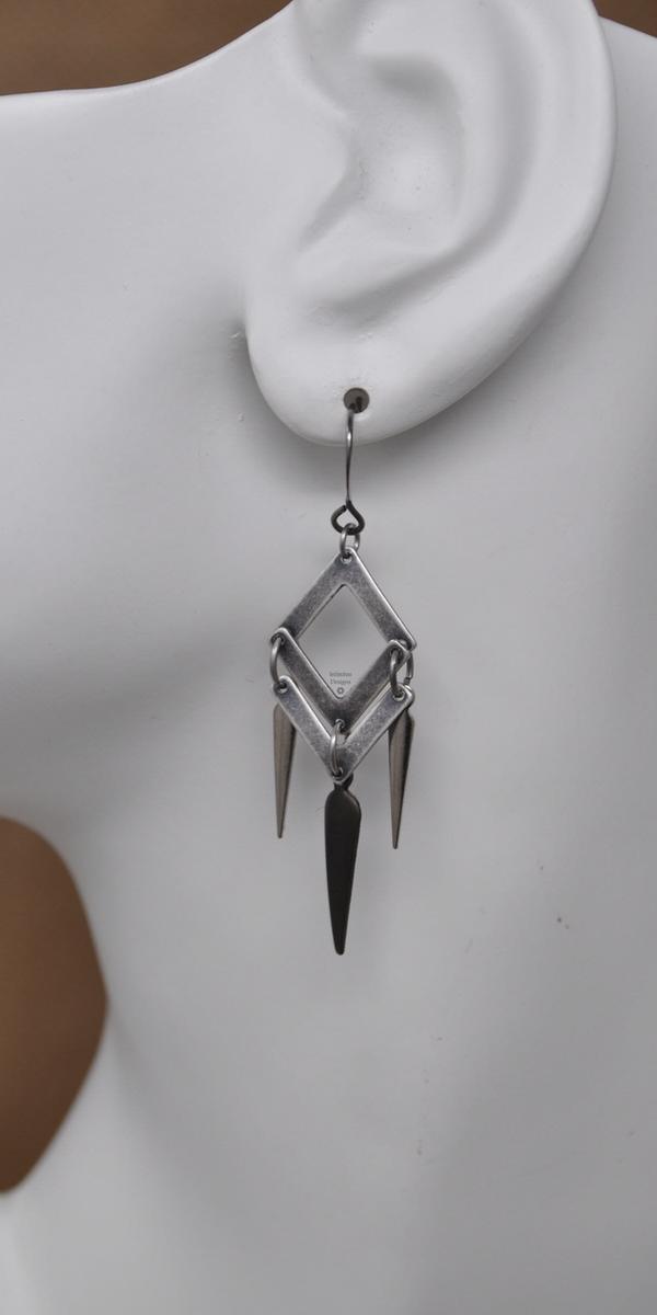 Aged Steel Tip of the Spear Earrings, by Infinitus Designs