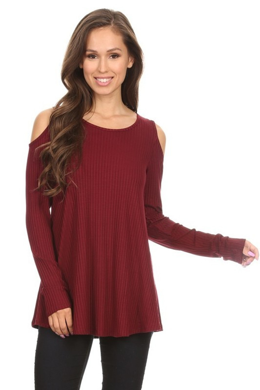 3b5712cd0a973 Ribbed A Line Cold Shoulder Knit Long Sleeve Top - Cheeky