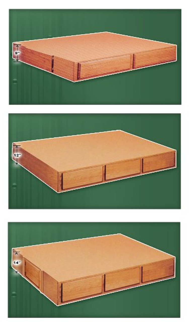Oak Waterbed Support Riser Options: 9-inch 4-Drawer, 12-inch 6 Drawer, 14-inch 6-Drawer