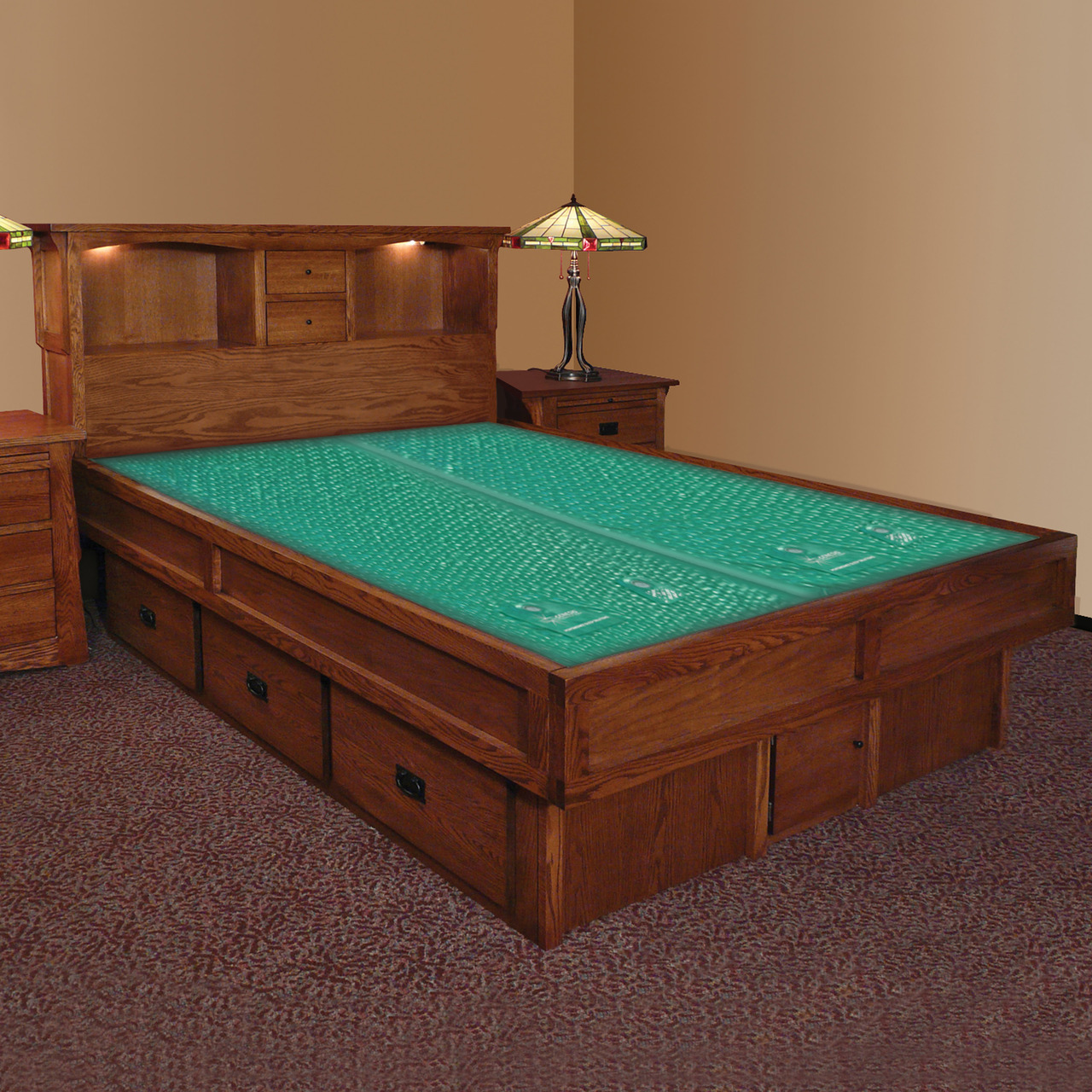 Mission Creek Waterbed With Bookcase Headboard & Casepieces