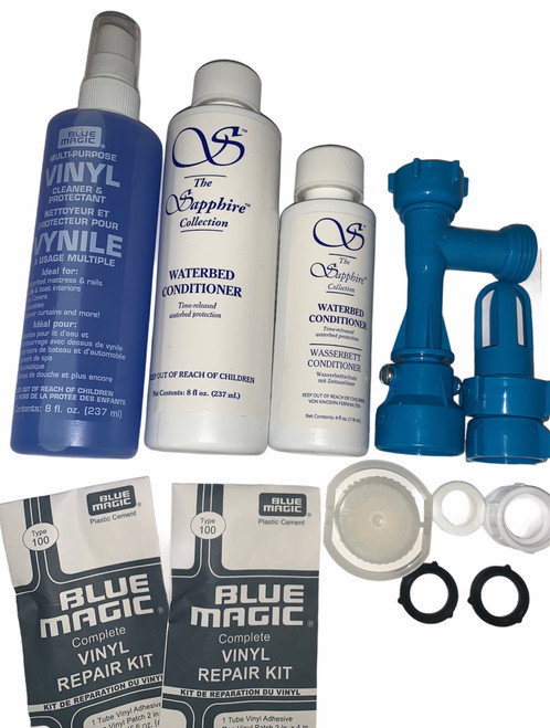 Waterbed Accessories Bundle includes  Waterbed Conditoiner Fill-Drain Kit Pull Cap and Seal, vinyl repair kits