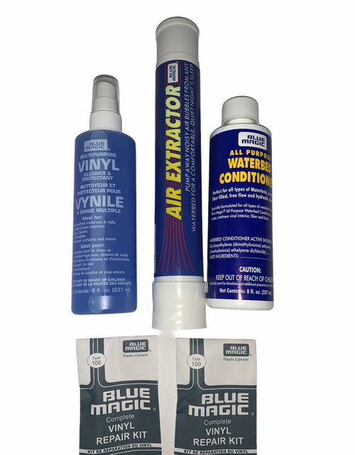 Waterbed Accessories Bundle includes Air Extractor Vinyl Cleaner Waterbed Conditioner patch kits