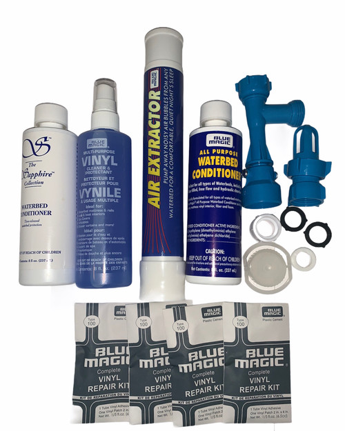 Waterbed Accessories Bundle includes Waterbed Conditioner, Fill and Drain Kit, Air Extractor, Vinyl Cleaner, Patch Kits , Cap and Plug kit