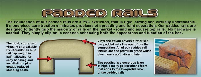 Waterbed padded rails description information