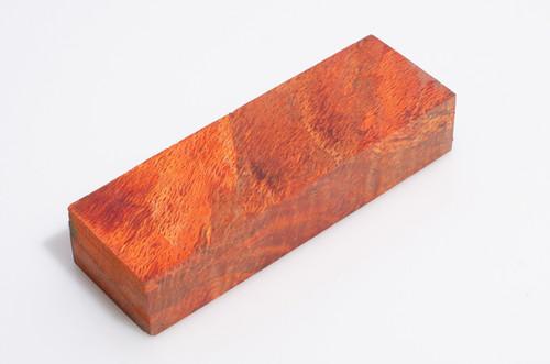 "Orange Spaghetti Oak Burl Knife Blank - Stabilized 2"" x 6 1/8"" x 1 1/4"""