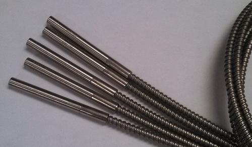 """5 pcs cartridge heater 1/4"""" diameter x 2-1/2"""" long, 48"""" long stainless steel armor flex over 55"""" fiberglass leads   240 volts, 200 watts"""