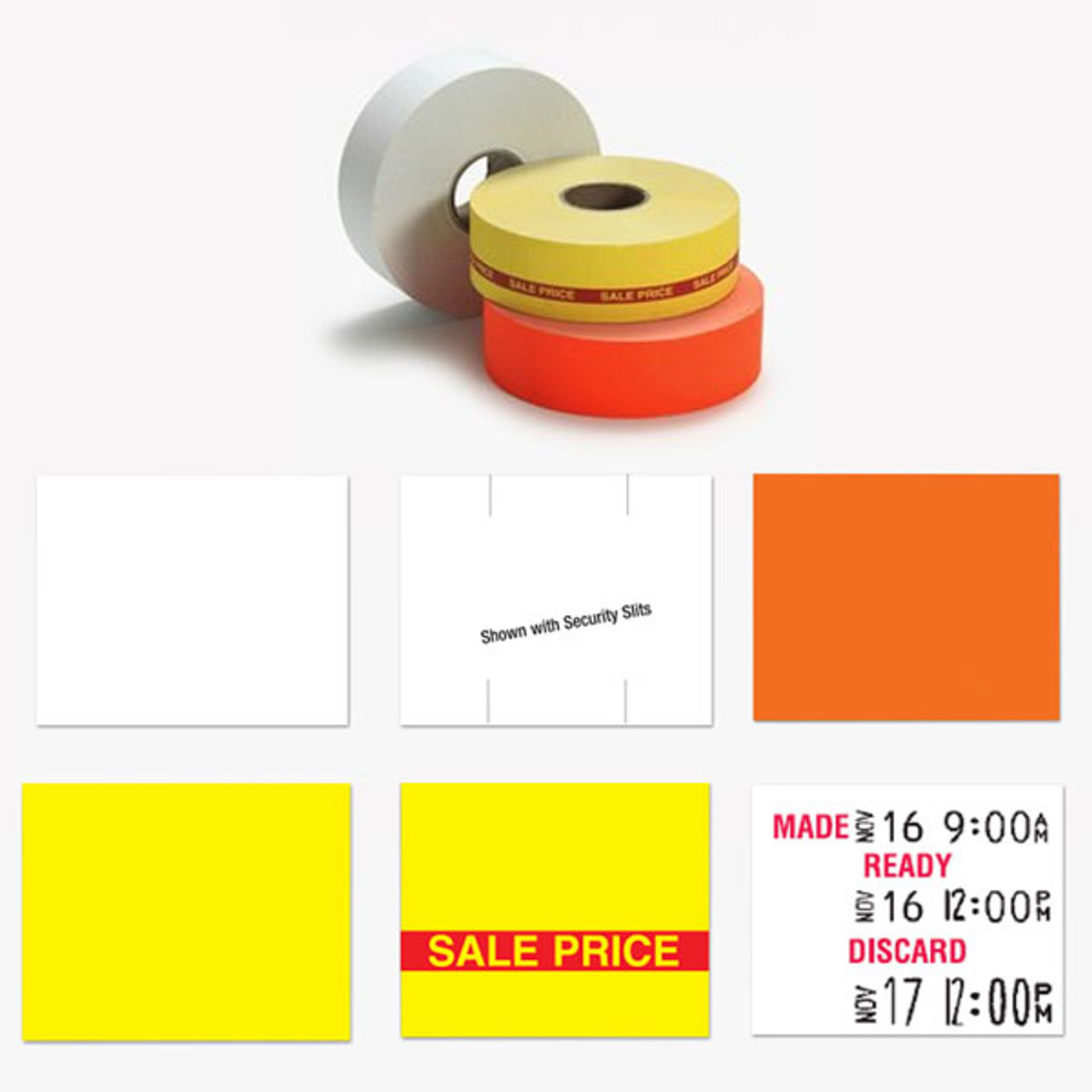 REMOVABLE White labels for Monarch 1136 and 1138 price gun 1 sleeve = 8 rolls