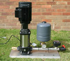 Grundfos CR series pump with 8L pressure tank and old style Kelco F60 pump controller, operation is via pressure system with the paddle switch providing loss of prime protection.