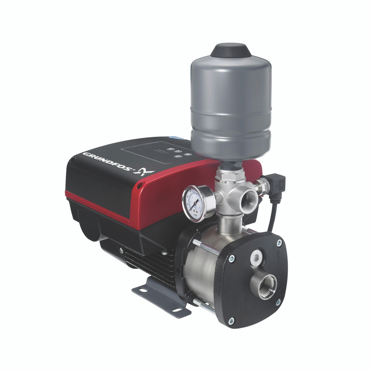 New style Grundfos CMBE constant pressure variable speed drive pump unit.