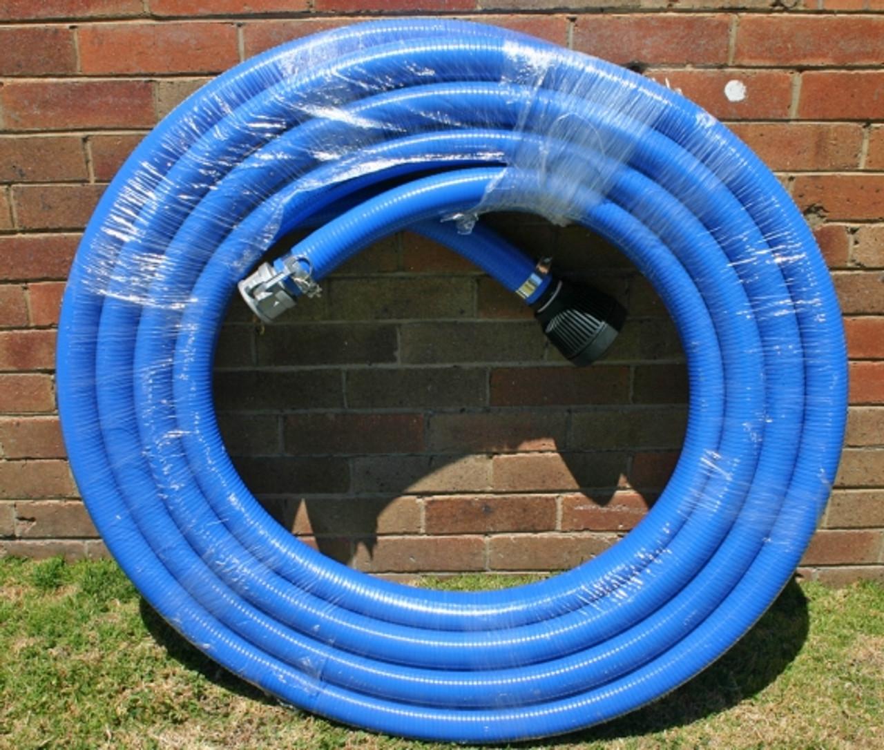 "5m length of 50mm Australian Made blue ""Nitrile"" flexible suction hose"