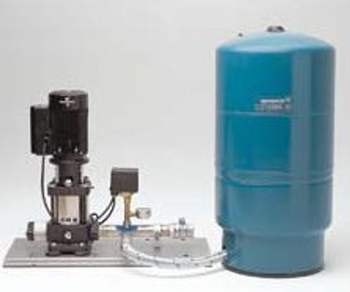 Grundfos CR3-19 Vertical Multistage Pump with Pressure Tank and Pressure Switch on a stainless steel base