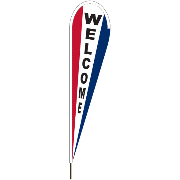 """Red, White, and Blue """"WELCOME"""" Tear Drop Flag"""