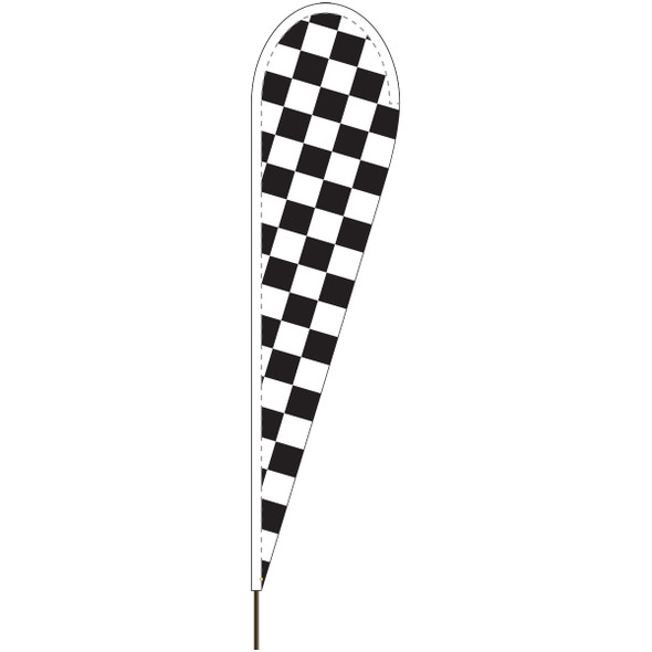 Black and White Checkered Tear Drop Flag