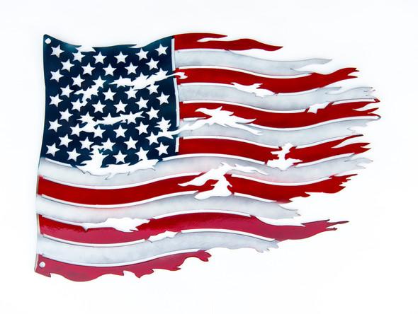 Large Metal Tattered United States Flag