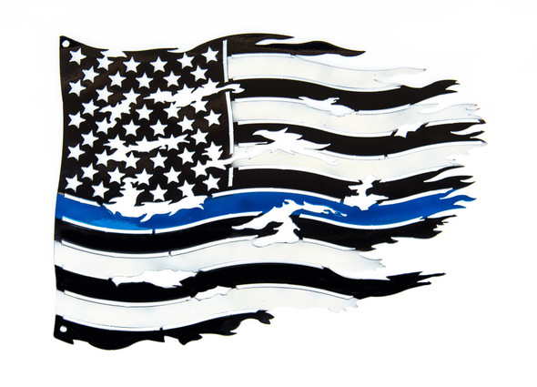 Large Metal Blue Thin Line Tattered Flag