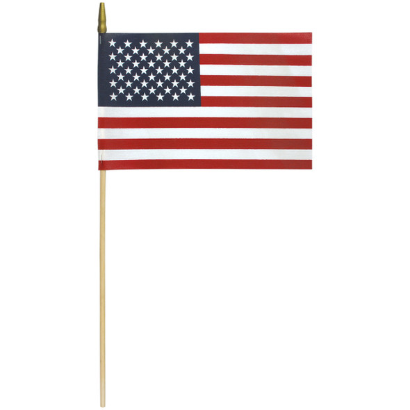 No-Fray Poly-Cotton Stick Flags W/ Gold Spear