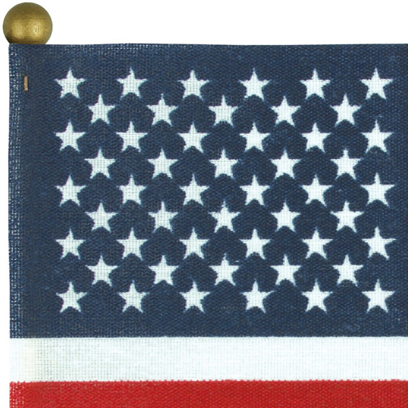 No-Fray Poly-Cotton Stick Flags W/ Gold Ball