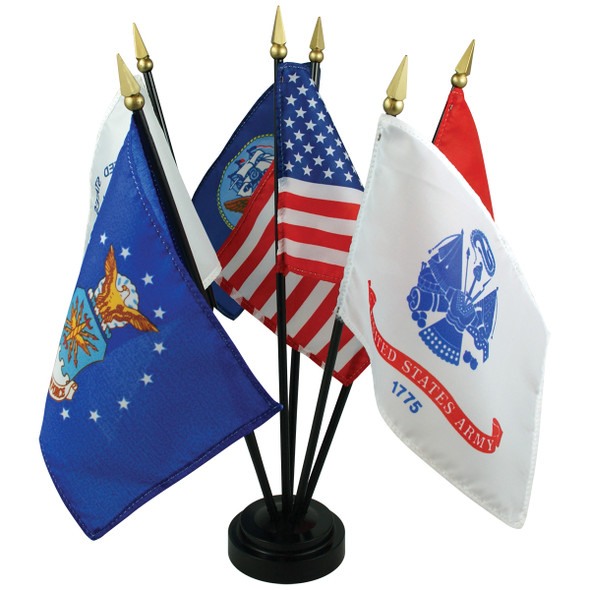 """4"""" x 6"""" Armed Forces Flag Table Set"""