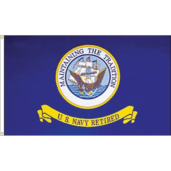 3' x 5' Endura-Poly Navy Retired Flag