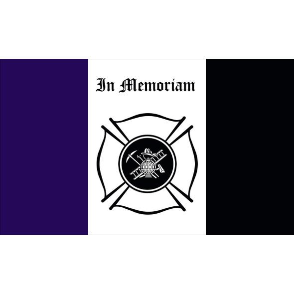 3' X 5' Nylon Firemen Mourning Flag