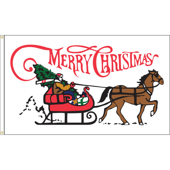 "3' x 5' Nylon ""Santa Sleigh"" Outdoor Flag"