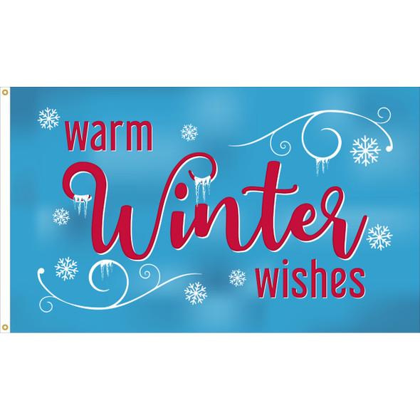 "3' x 5' Nylon ""Warm Winter Wishes"" Flag"
