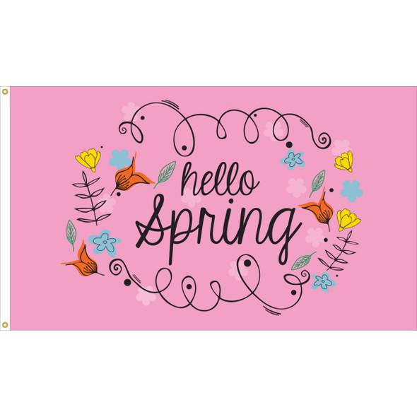 """3' x 5' Nylon """"Hello Spring"""" Outdoor Flag"""