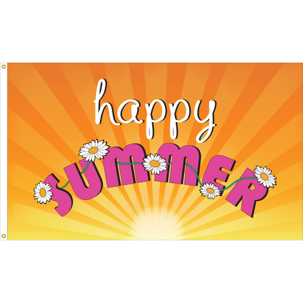 "3' x 5' Nylon "" Happy Summer"" Outdoor Flag"